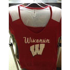 Wisconsin Badgers Women's Red Scoop Short Sleeve Tee with Glitter W