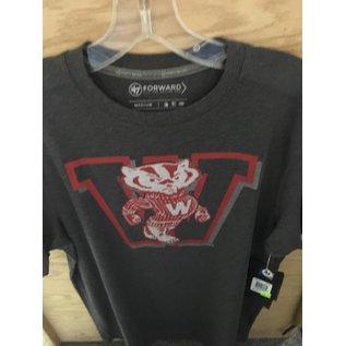 Wisconsin Badgers Men's Gray Short Sleeve Tee with Vault Logo