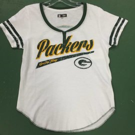 Green Bay Packers Women's White Short Sleeve Tee with Buttons