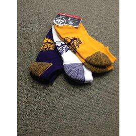 Minnesota Vikings Blade No Show 3 Pack Socks Large