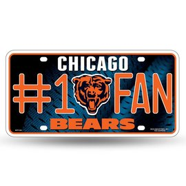 Chicago Bears #1 fan metal license plate