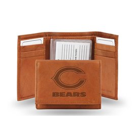 Chicago Bears Brown leather trifold wallet with man-made interior