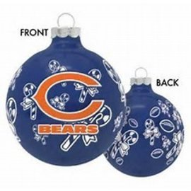 Chicago Bears Round Ball Ornaments with Candy Canes