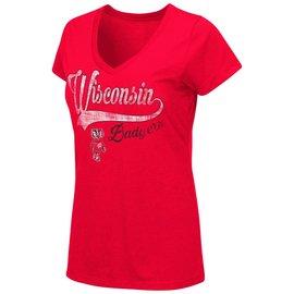 Wisconsin Badgers Women's How You Doin' V Neck Short Sleeve Tee
