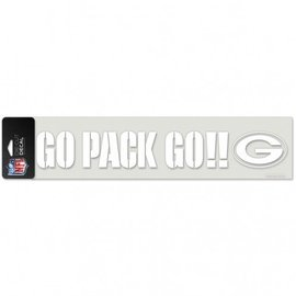 Green Bay Packers 4x16 White Decal - Go Pack Go