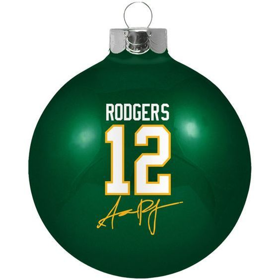 green bay packers aaron rodgers round ball ornament - Green Bay Packers Christmas Ornaments