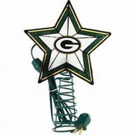 Green Bay Packers Art Glass Christmas Tree Topper