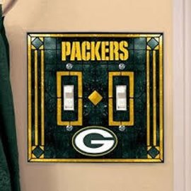 Green Bay Packers Double Art Glass Light Switch Cover