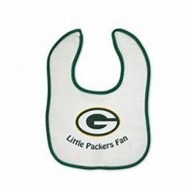 Green Bay Packers White Baby Bib with Green Trim