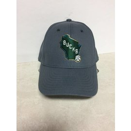 Milwaukee Bucks Adidas Gray With State  Hat