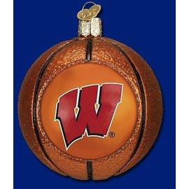 Wisconsin Badger Blown Glass Basketball Ornament