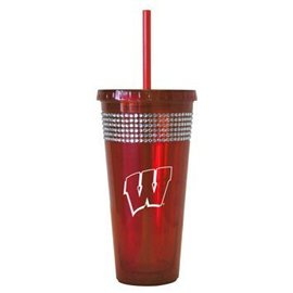 Wisconsin Badgers 22oz Bling Straw Tumbler
