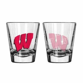 Wisconsin Badgers 2oz satin etch shot glass with all over Ws
