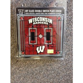 Wisconsin Badgers Art Glass Double Light Switch Cover