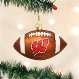 Wisconsin Badgers Blown Glass Football Ornament