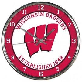 Wisconsin Badgers Chrome Clock