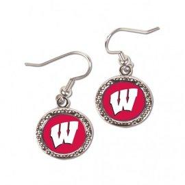 Wisconsin Badgers dangle earrings - circle & W