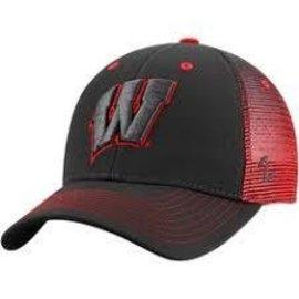 Wisconsin Badgers Adjustable Hat - Gray Front & Bill, Mesh Back