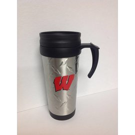 Wisconsin Badgers 12oz Stainless Steel Diamond Pattern Travel Mug with Handle