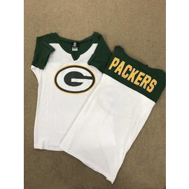 Green Bay Packers Women's Roll Cuff With a V Notched Neck Short Sleeve Tee