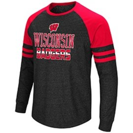 Wisconsin Badgers Men's Hybrid Long Sleeve Raglan Tee