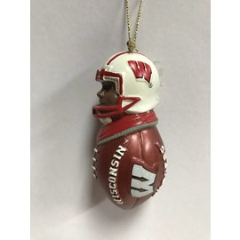 Wisconsin Badgers Player On Football Ornament