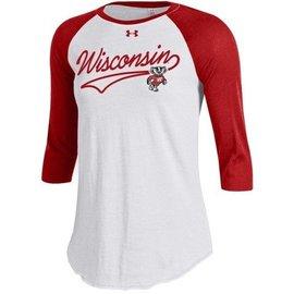 Wisconsin Badgers Women's 3/4 Sleeve Baseball Tee