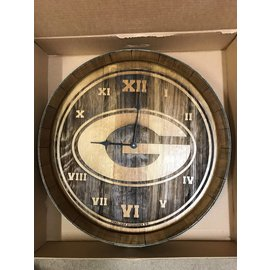 Green Bay Packers G BarrelHead Clock