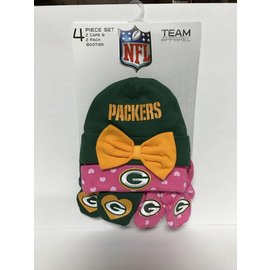 Green Bay Packers Infant 4 Piece Hat and Bootie Set