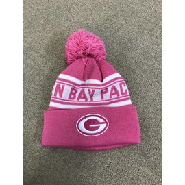 Green Bay Packers Youth Pink Cuffed Knit with Pom