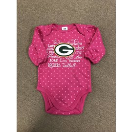 Green Bay Packers Infant Pink Long Sleeved Onesie
