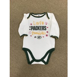 Green Bay Packers Infant White with Green Trim Long Sleeved Onesie