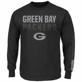 Green Bay Packers Men's Black 2 Hit Long Sleeve Tee