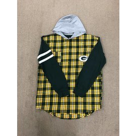 Green Bay Packers Men's Lightweight Hooded Flannel Shirt
