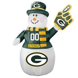 Green Bay Packers 7 Foot Inflatable Snowman With LED Lights