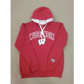 Wisconsin Badgers Men's Red with Embroidered W and Wisconsin Pullover Hoodie