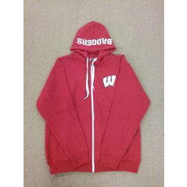 Wisconsin Badgers Men's Red with Badgers Embroidered in Hood Full Zip