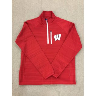 Wisconsin Badgers Men's Red 1/4 Zip With White Zippers