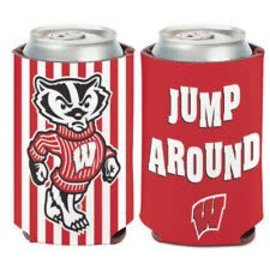 Wisconsin Badgers Jump Around Striped Can Cooler