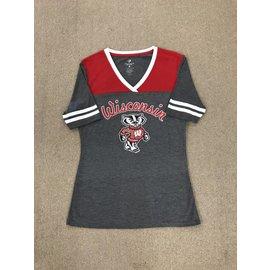 Wisconsin Badgers Women's Charcoal & Red Short Sleeve Tee