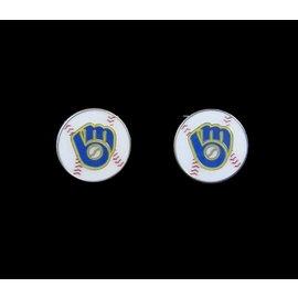 Milwaukee Brewers Glove Logo Post Earrings