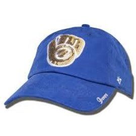 Milwaukee Brewers womens royal sparkle hat