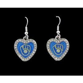 Milwaukee Brewers Glitter Heart Dangle Earrings with Rhinestones