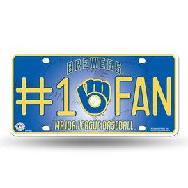 Milwaukee Brewers #1 fan metal license plate