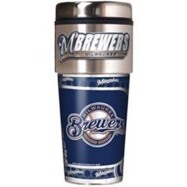 Milwaukee Brewers 16oz travel tumbler with metallic wrap