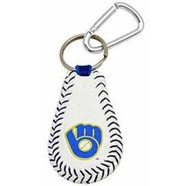 Milwaukee Brewers leather key fob with Ball & Glove logo