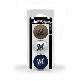 Milwaukee Brewers 3 pack golf balls