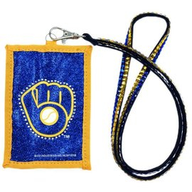 Milwaukee Brewers Beaded lanyard ID wallet