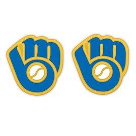 Milwaukee Brewers Ball & Glove logo post earrings