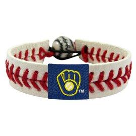 Milwaukee Brewers Leather Bracelet - White Retro